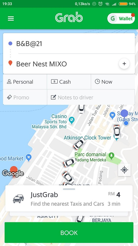 Capture d'écran d'une demande de taxi avec l'application Grab