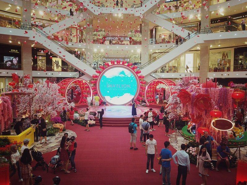 Entrée décorée du Shopping mall Pavilion KL en Malaisie