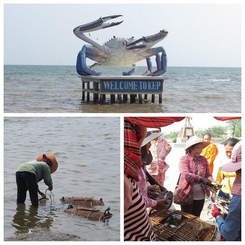 Statue de crabe et vendeuses cambodgiennes au marché de Kep, Cambodge