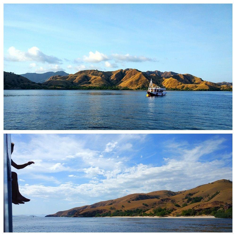 Vue sur l'île Komodo depuis bateau de croisière