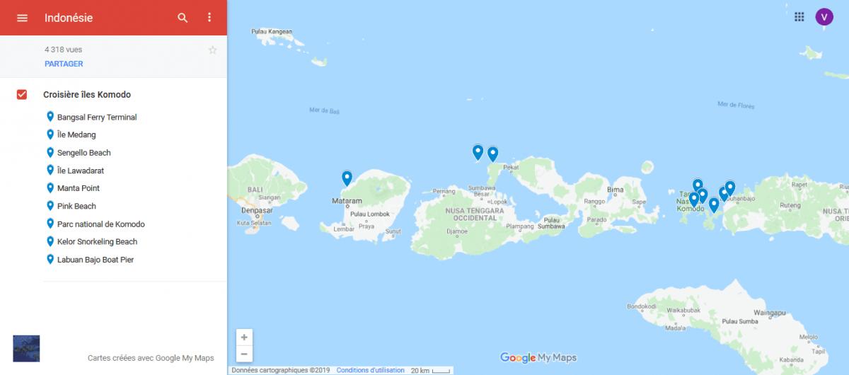 Carte montrant arrêts pendant croisière îles lombok et komodo, Indonésie