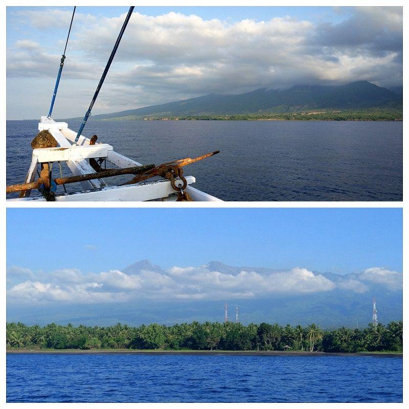 Proue du bateau et vue sur l'île de Lombok, Indonésie