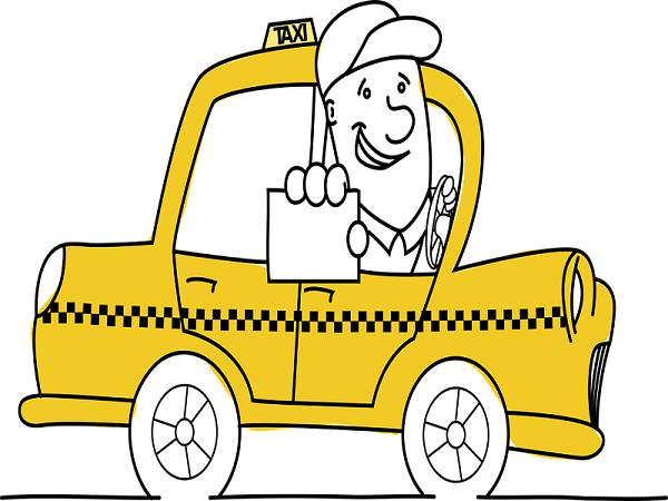 Dessin d'un taxi proposant un tarif