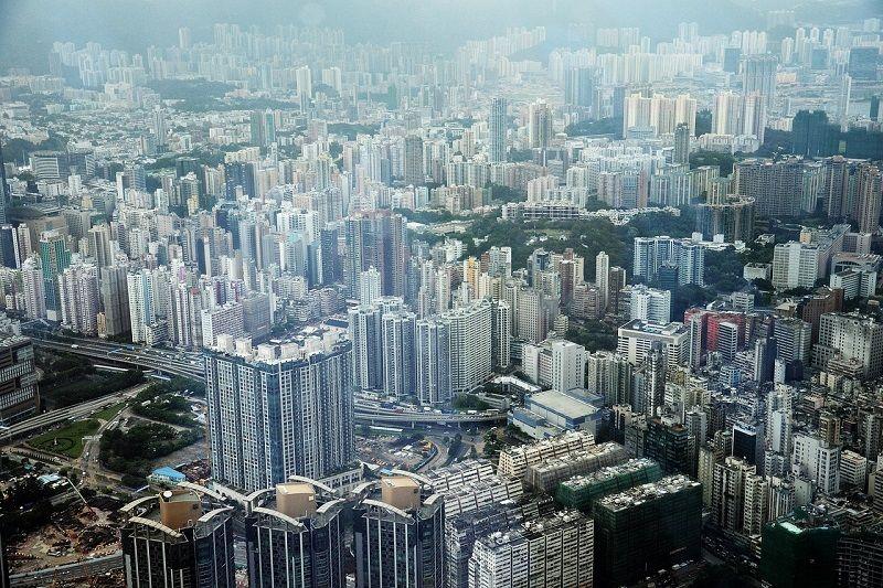 Vue aérienne de la ville de Hong-Kong