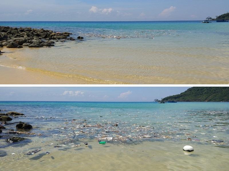 Flopée de plastiques flottant sur la mer au bord d'une belle plage