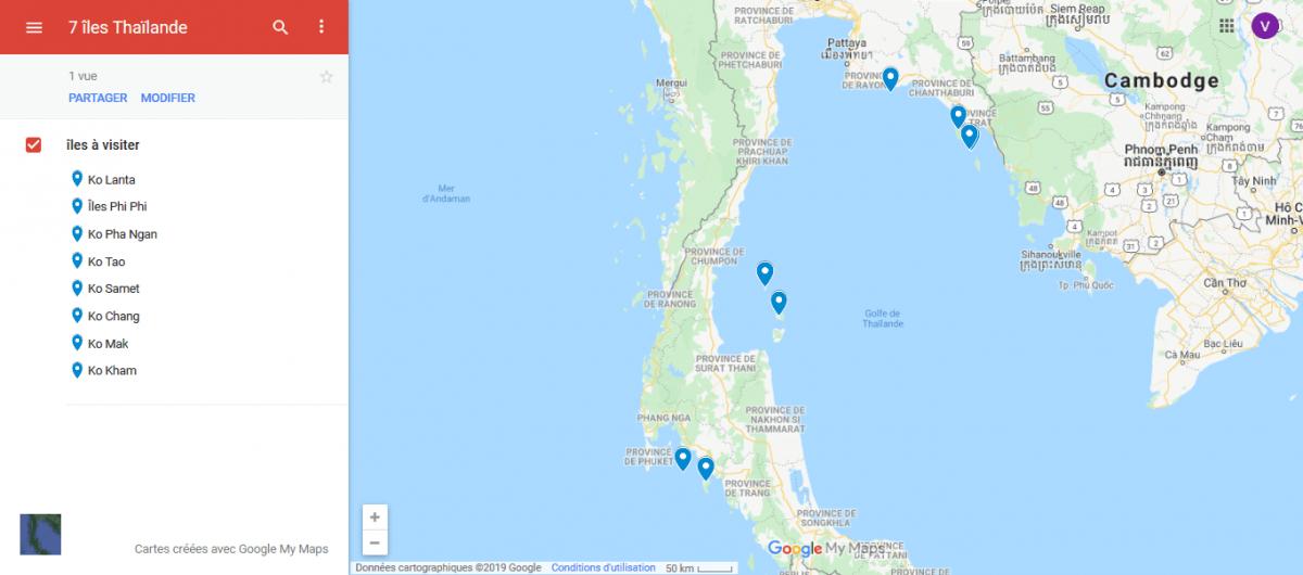 carte montrant 7 îles de Thaïlande