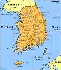 Carte de Corée du Sud