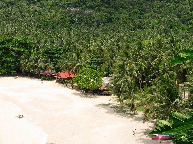 Vue de la plage de Haad Sadet depuis un bungalow, Ko Phangan, ThaÏlande