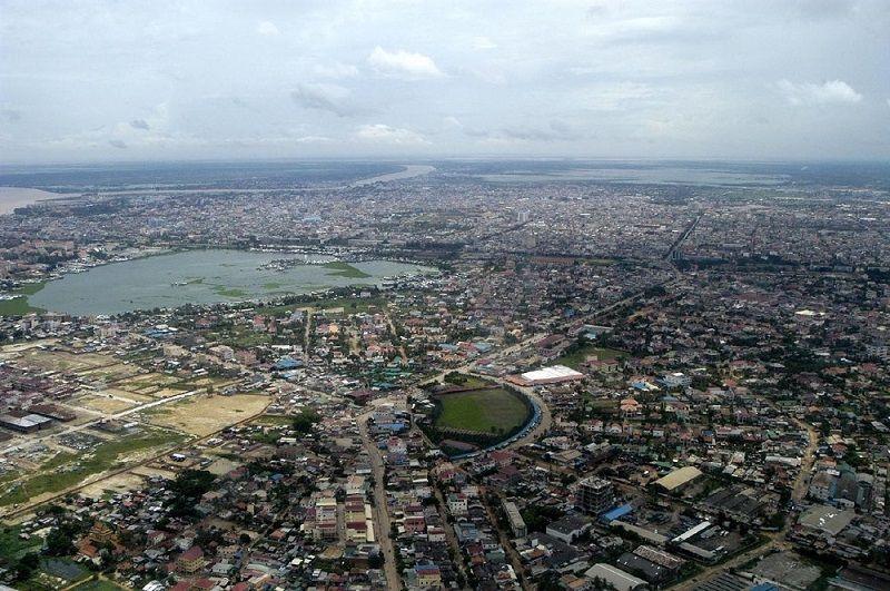 Vue aérienne de Phnom-Penh, Cambodge