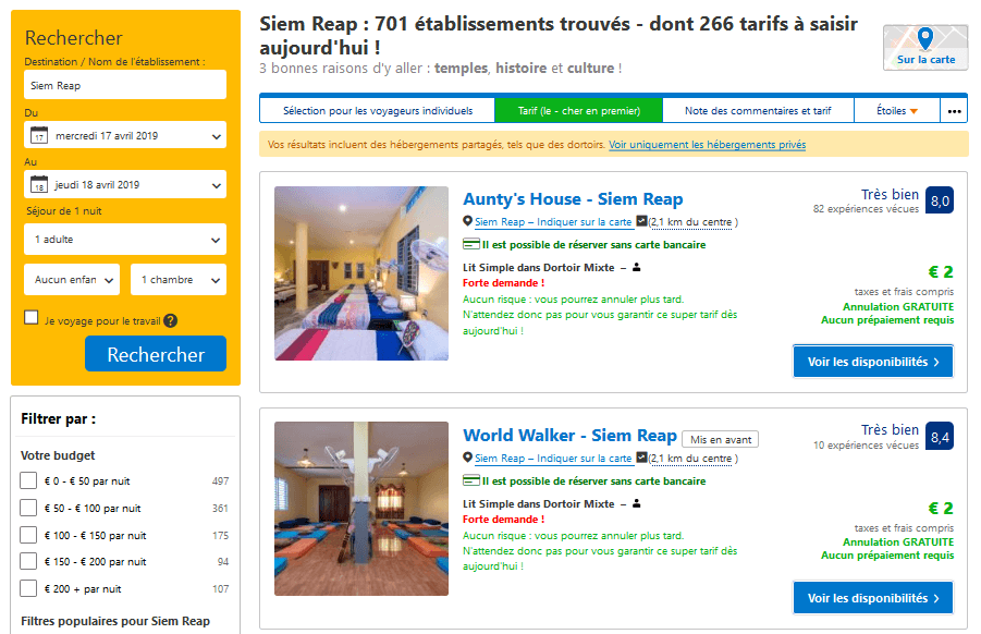Screenshot d'hôtels à Sien Reap sur Booking.com
