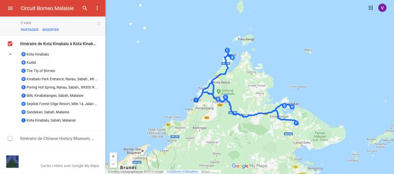 circuit au départ de Kota Kinabalu, Sabah, Borneou départ de Kota Kinabalu, Sabah, Borneo