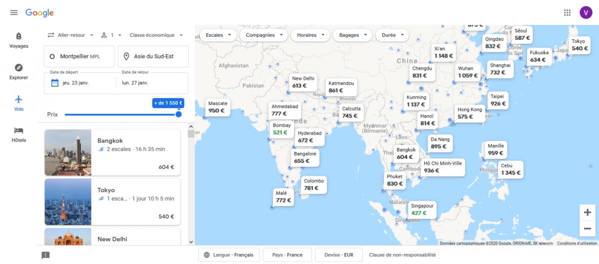 carte des destinations en Asie du Sud-Est sur Google Flights