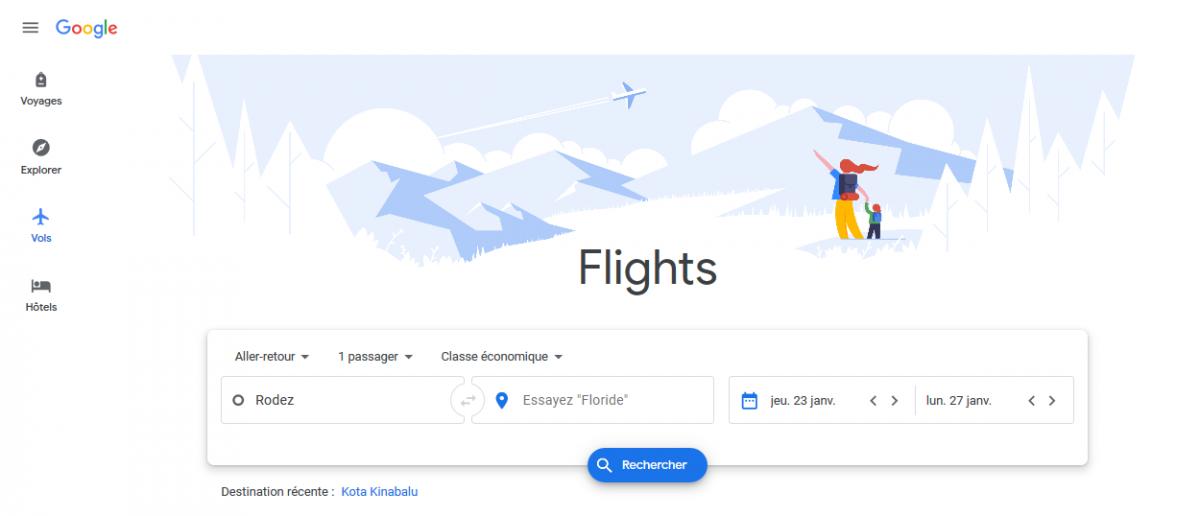 page d'accueil de Google Flights
