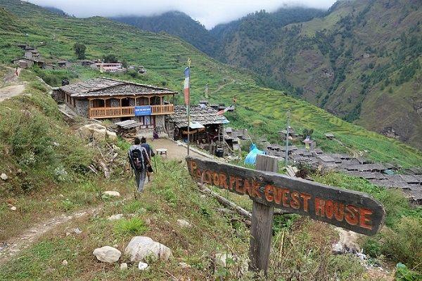 Arrivée guesthouse Gatlang, Nepal