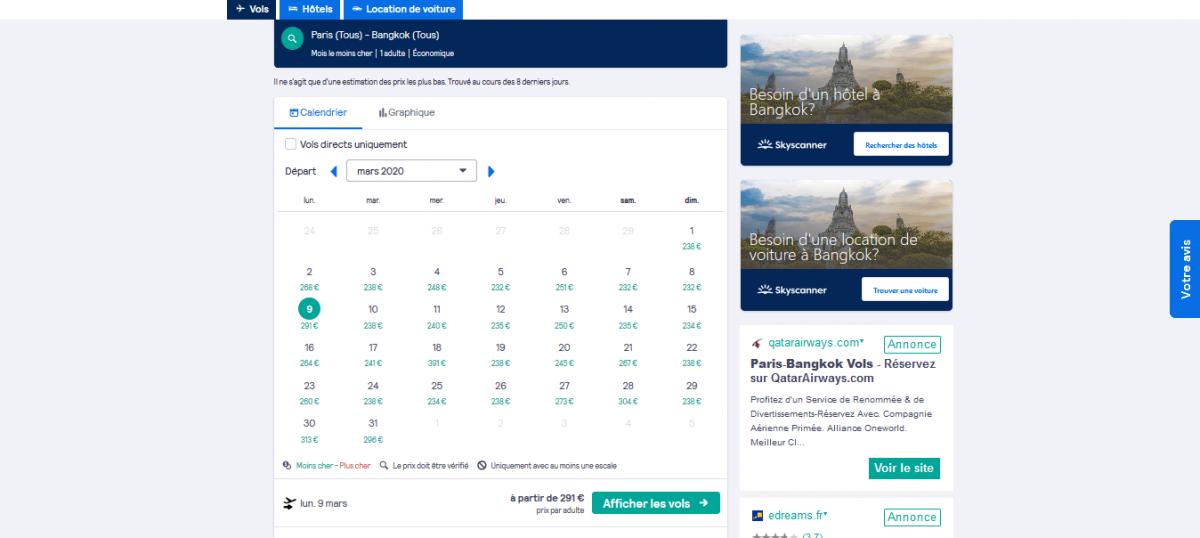 Prix Skyscanner pour un vol Paris-Bangkok en mars 2020