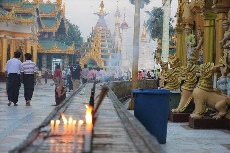 mpoine priant devant la pagode Shwedagon, Birmanie