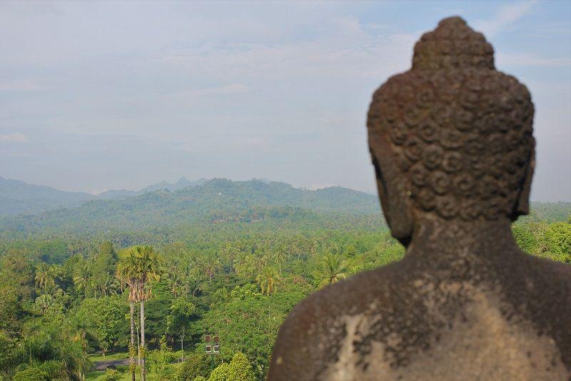 tête de buddha vu de dos et panorama sur la jungle, Asie